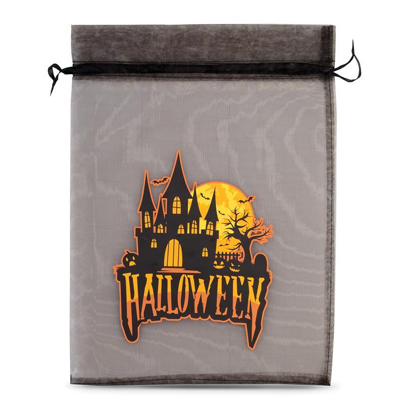 1 pièce Sac en organza Halloween 2, 30 x 40 cm - noir