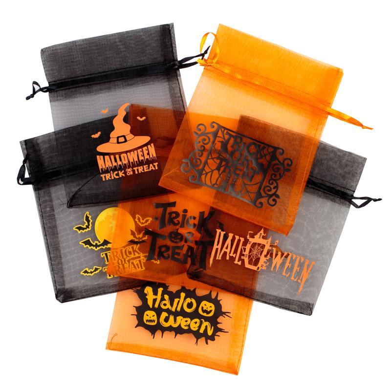 10 pièces Sacs en organza Halloween 12 x 15 cm - mix de motifs et de couleurs