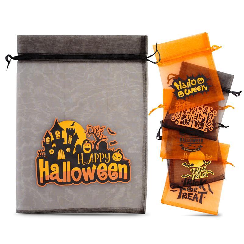 31 pièces Sac en organza Halloween (n°1) noir + orange