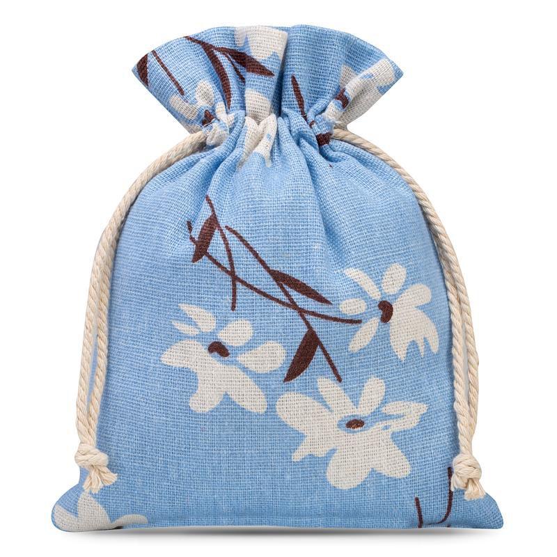1 pièce Sac de lin 18 x 24 cm avec l'impression - naturel / fleurs bleues