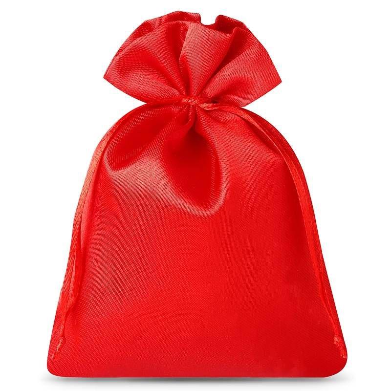 10 pièces Sacs de satin 6 x 8 cm - rouge