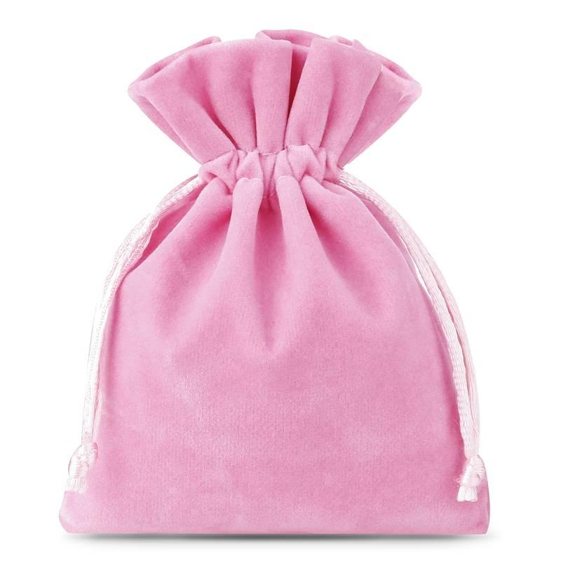 10 pièces Sacs en velours 6 x 8 cm - rose clair