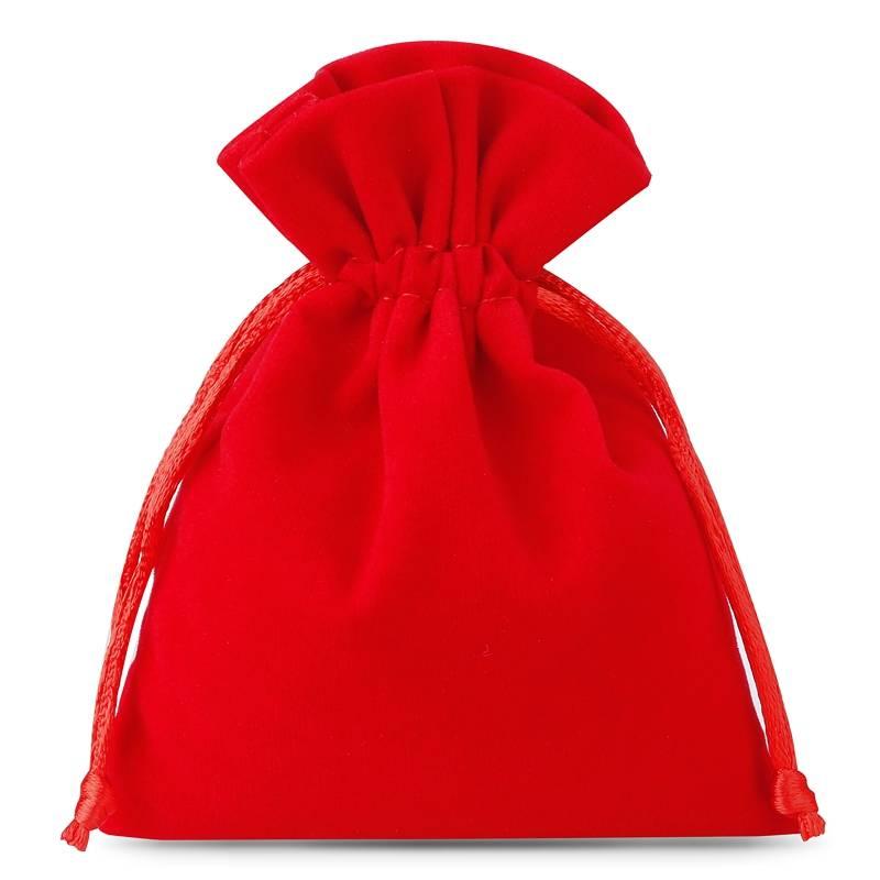 10 pièces Sacs en velours 6 x 8 cm - rouge