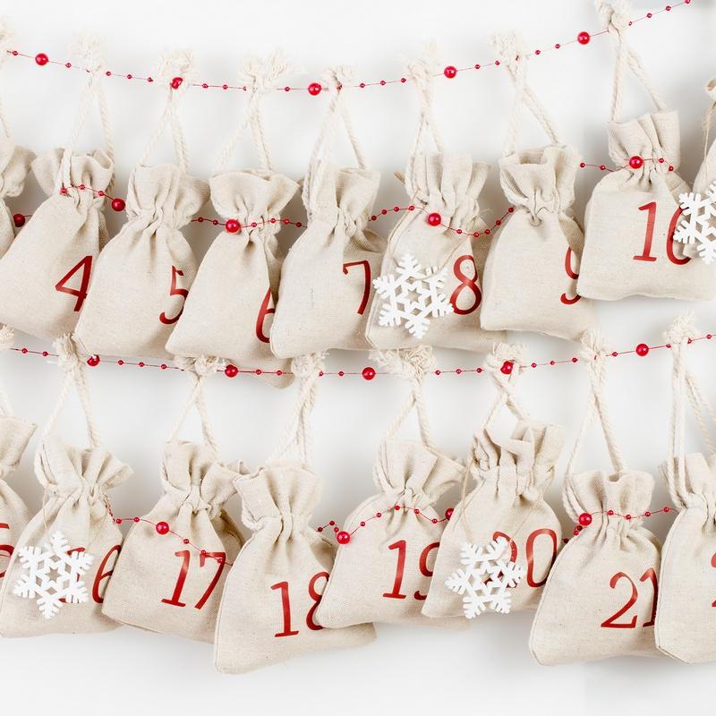 10 pièces Sacs de lin 10 x 13 cm - naturelle Sac de Noël