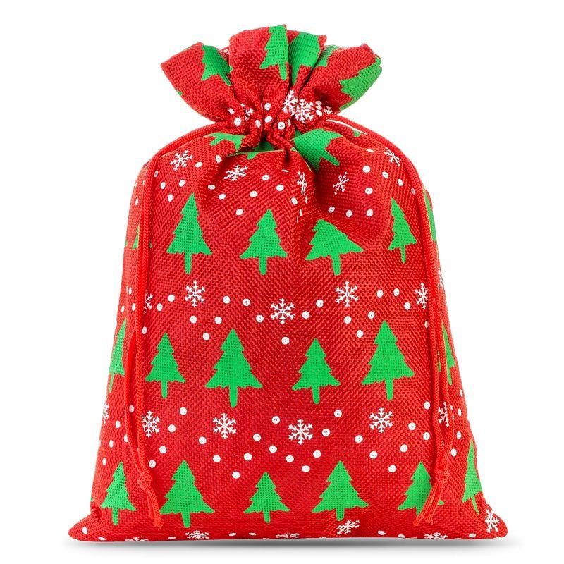 1 pièce Sac de jute 26 x 35 cm - rouge / arbre de Noël