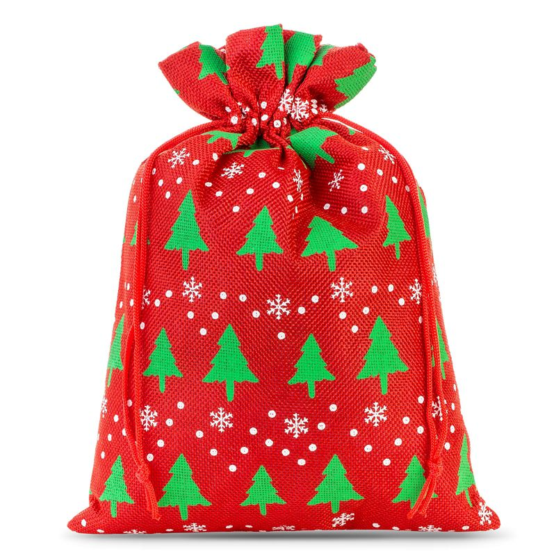 1 pièce Sac de jute 30 x 40 cm -  rouge / arbre de Noël