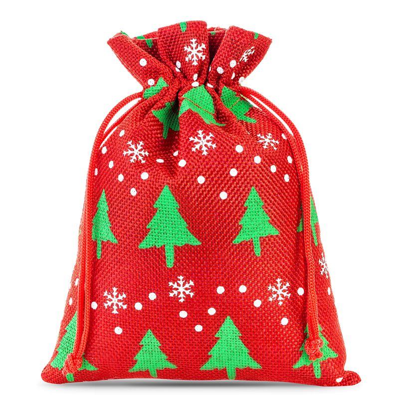 5 pièces Sacs de jute 18 x 24 cm - rouge / arbre de Noël