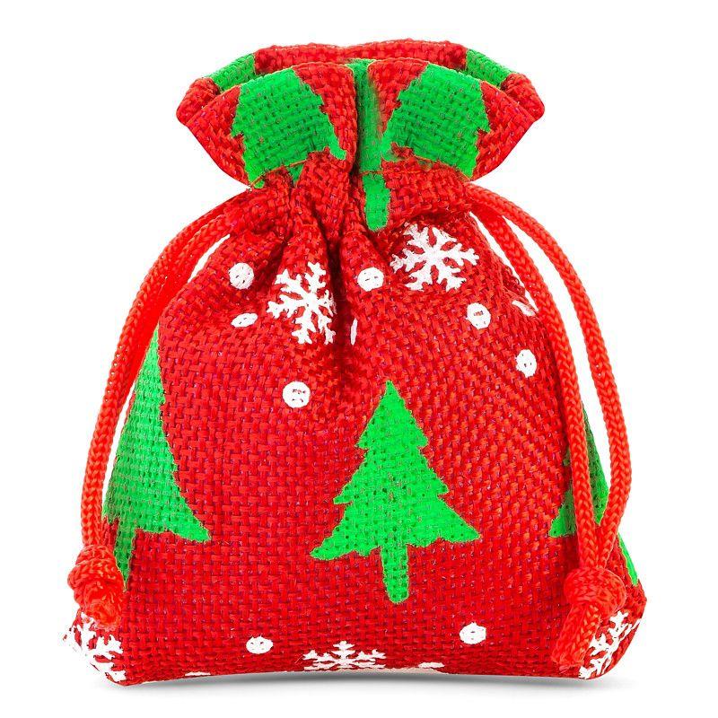 10 pièces Sacs de jute 8 x 10 cm - rouge / arbre de Noël
