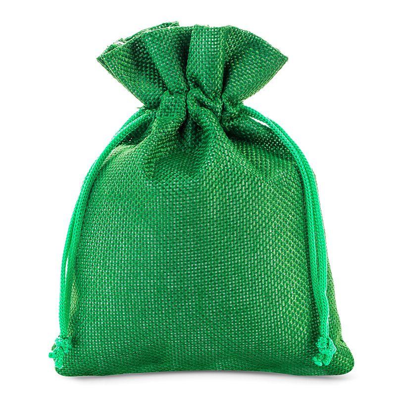 10 pièces Sacs de jute 13 x 18 cm - vert