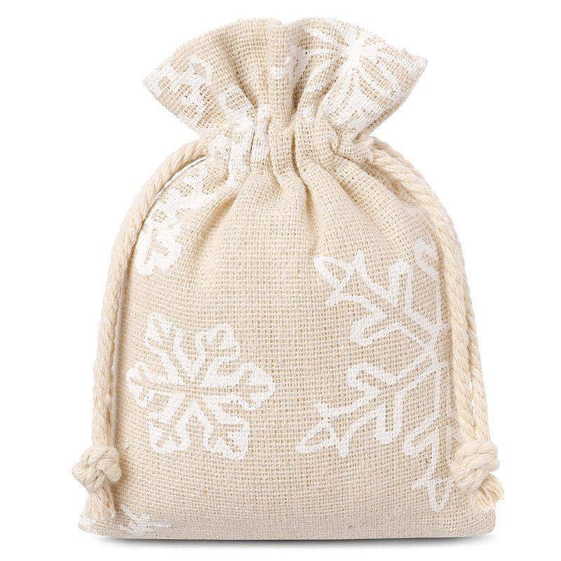10 pièces Sacs de lin avec l'impression 13 x 18 cm - naturelle / neige