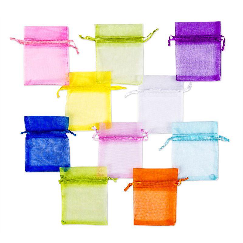 10 pcs. Sachets en organza 7 x 9 cm - mix de couleurs du printemps