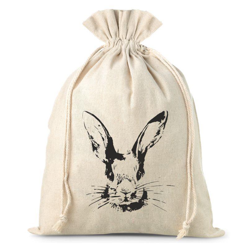 1 pc Sachet en lin 26 x 35 cm avec impression- lapin