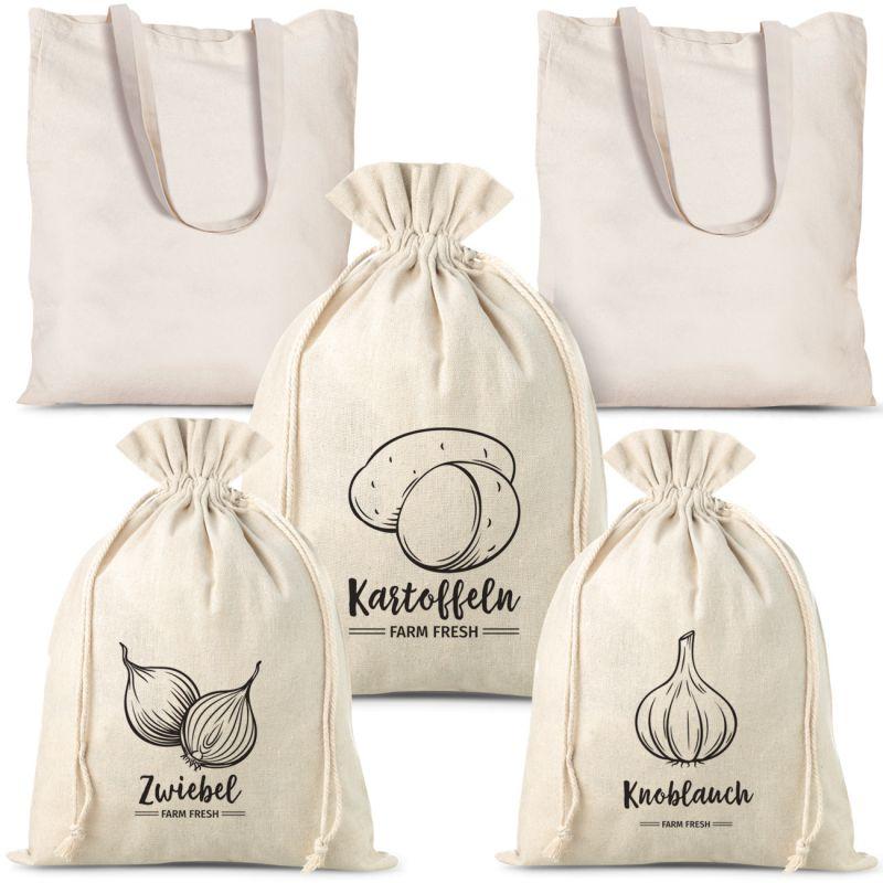 Lot de sacs en lin à légumes (3 pcs) et sacs à provisions en coton (2 pcs).