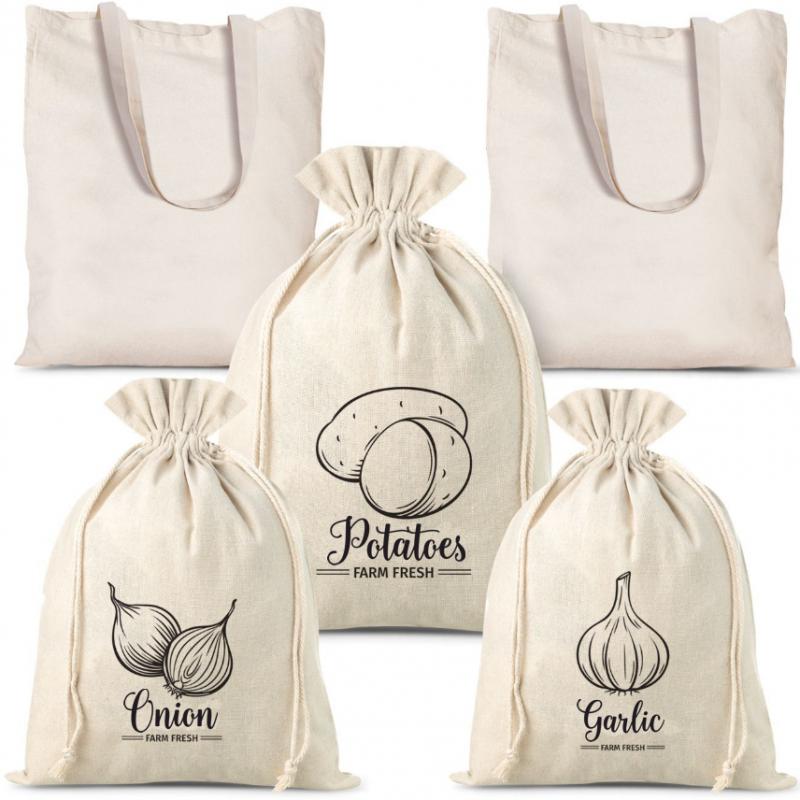 5 pcs Sacs à légumes en lin (3 pcs) et sacs à provisions en coton   (2 pcs)