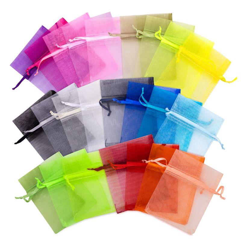 5 pièces Sacs en organza 40 x 55 cm - mix de couleurs