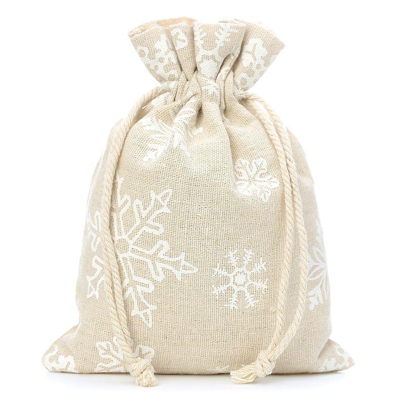 3 pièces Sacs de lin 22 x 30 cm avec l'impression - naturelle / neige