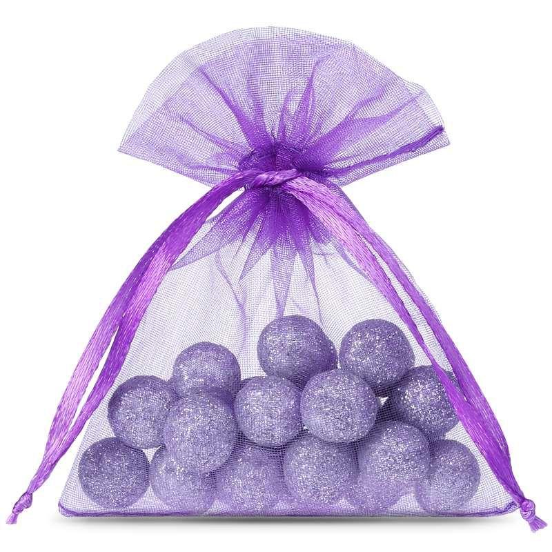 25 pièces Sacs en organza 8 x 10 cm - violet foncé