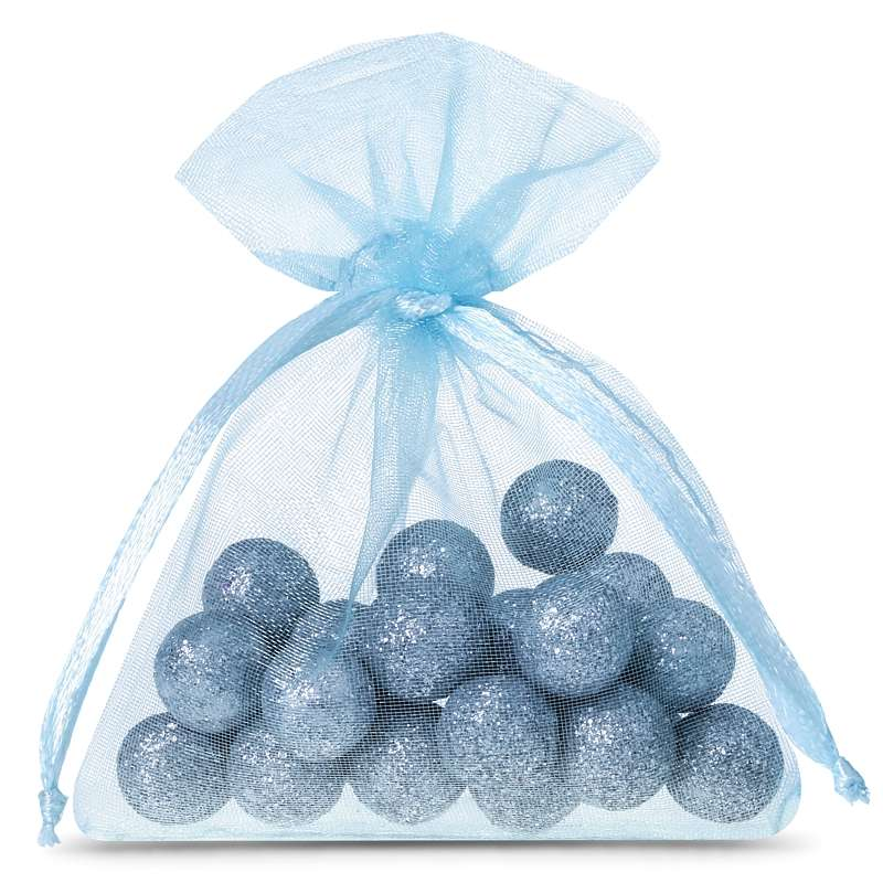 25 pièces Sacs en organza 7 x 9 cm - bleu ciel
