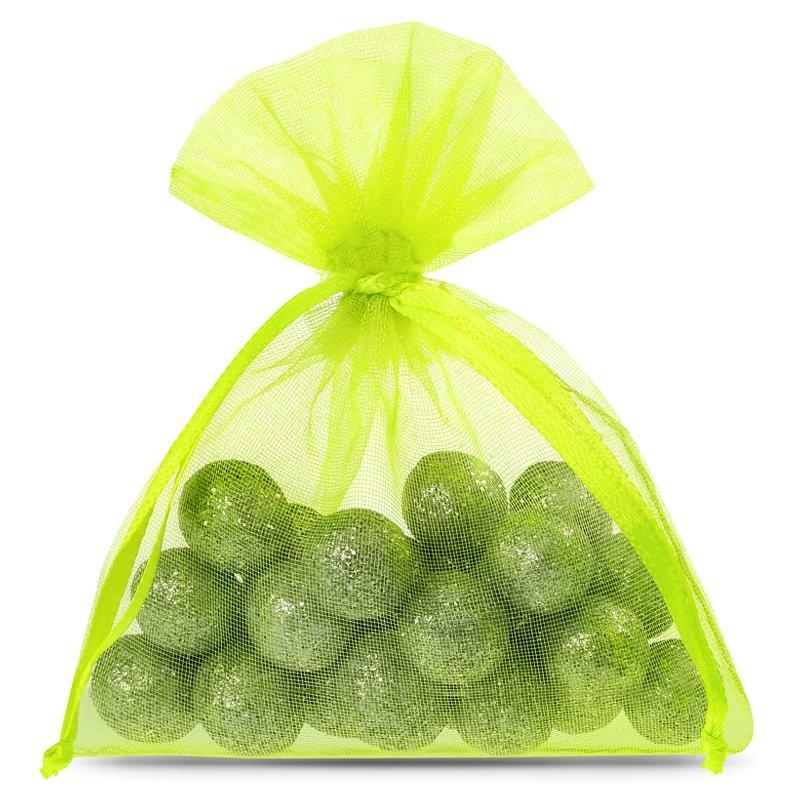 25 pièces Sacs en organza 8 x 10 cm - néon vert Décoratif Sacs en organza