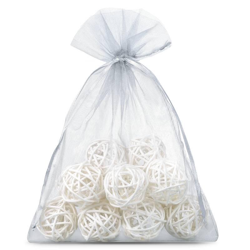 Organza bags 18 x 24 cm (10 pcs) - silver Décoratif Sacs en organza