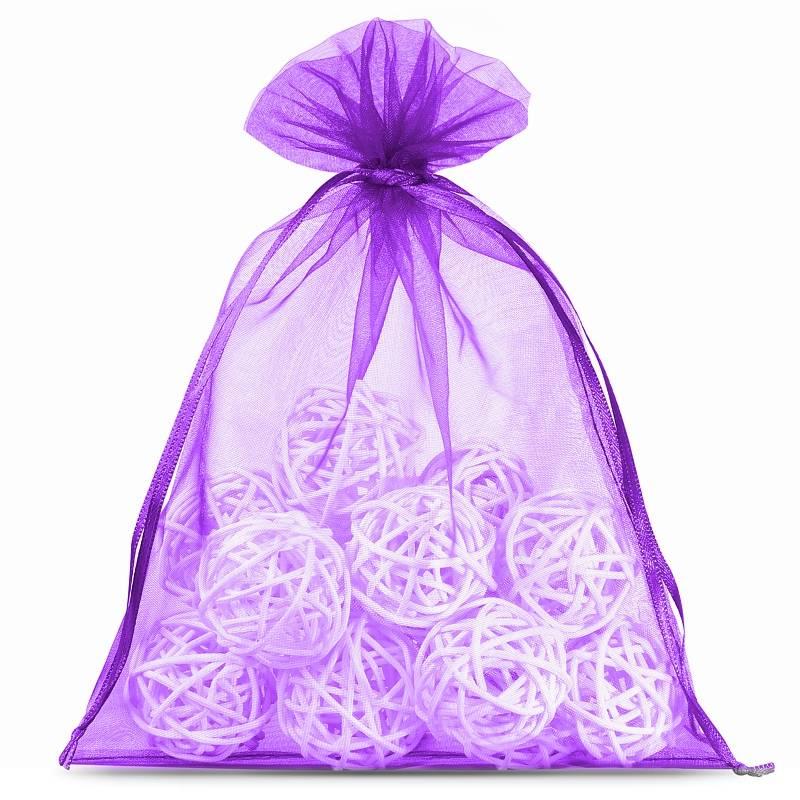 10 pièces Sacs en organza 22 x 30 cm - violet foncé Décoratif Sacs en organza