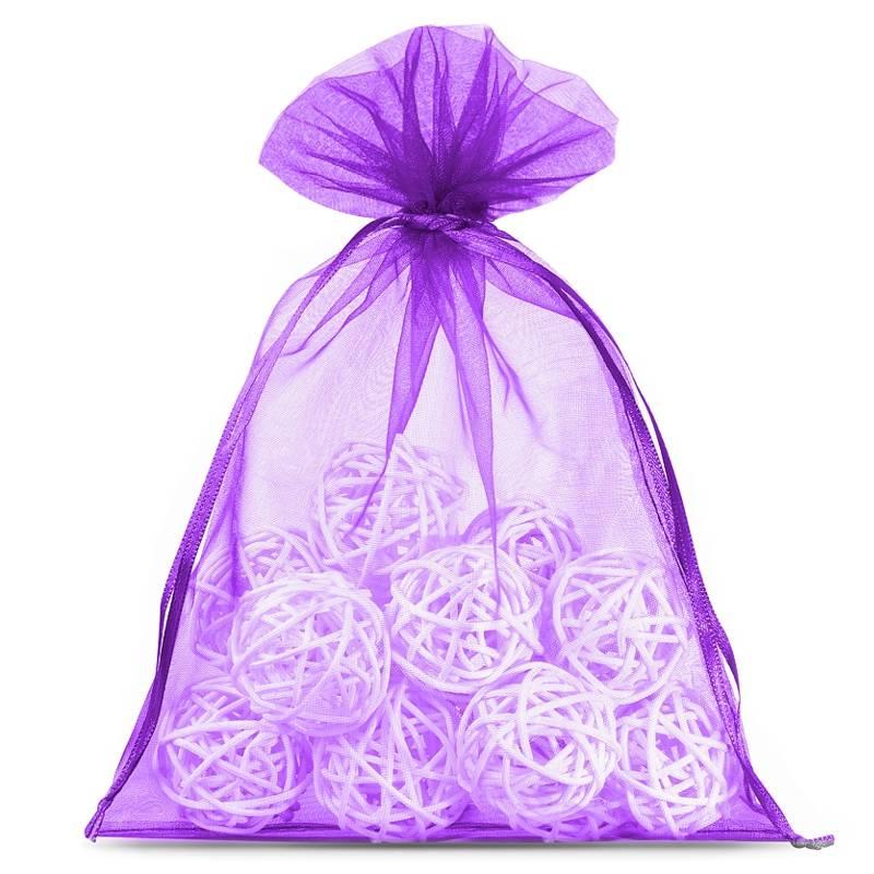10 pièces Sacs en organza 15 x 20 cm - violet foncé