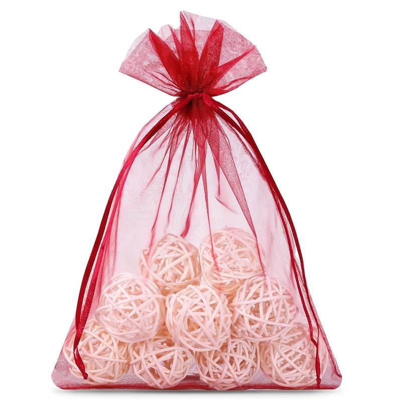 Organza bags 12 x 15 cm (25 pcs) - burgundy Décoratif Sacs en organza