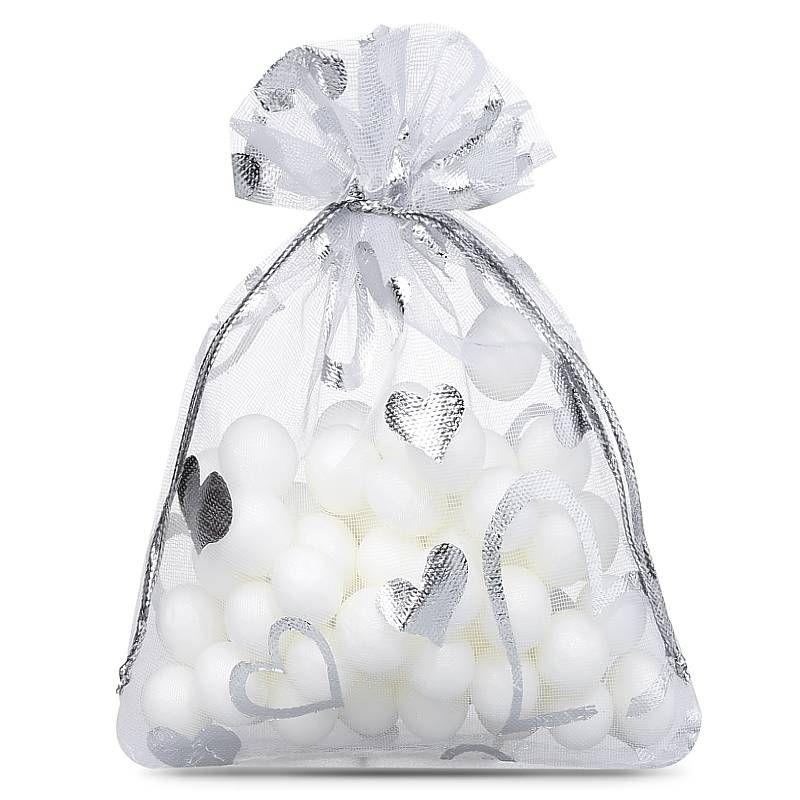 25 pièces Sacs en organza 7 x 9 cm - blanc avec l'impression - cœur