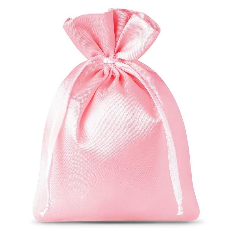 10 pièces Sacs de satin 8 x 10 cm - rose clair