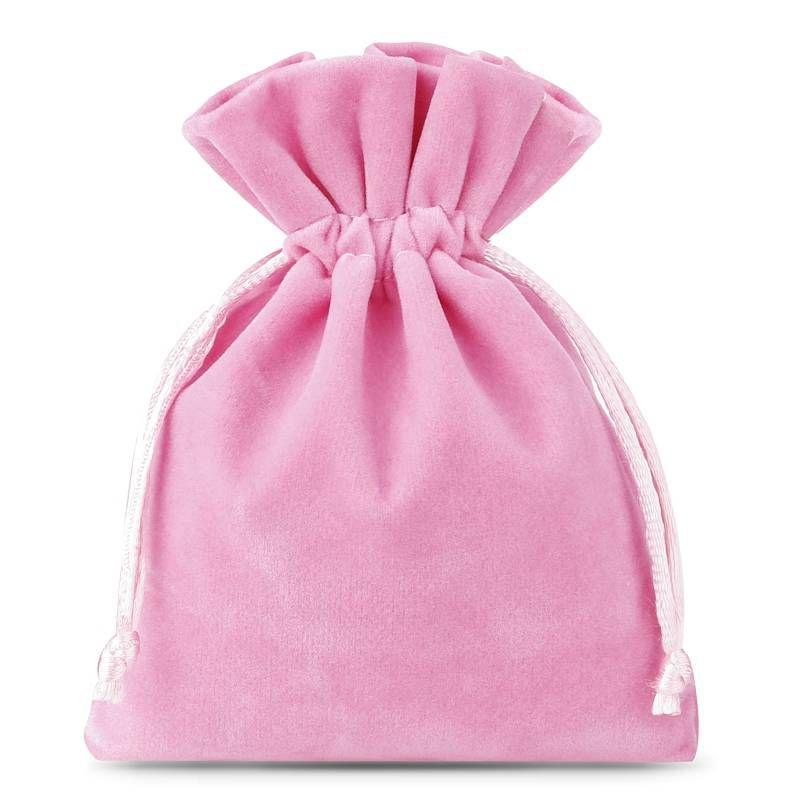 10 pièces Sacs en velours 8 x 10 cm - rose clair