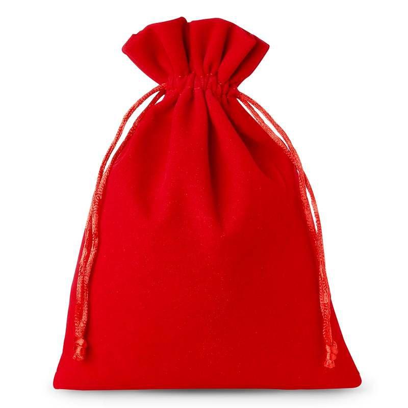 10 pièces Sacs en velours 12 x 15 cm - rouge