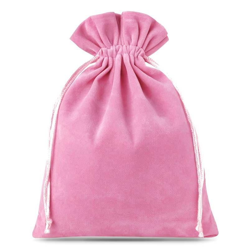 5 pièces Sacs en velours 15 x 20 cm - rose clair