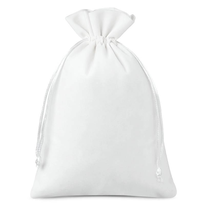 5 pièces Sacs en velours 18 x 24 cm - blanc
