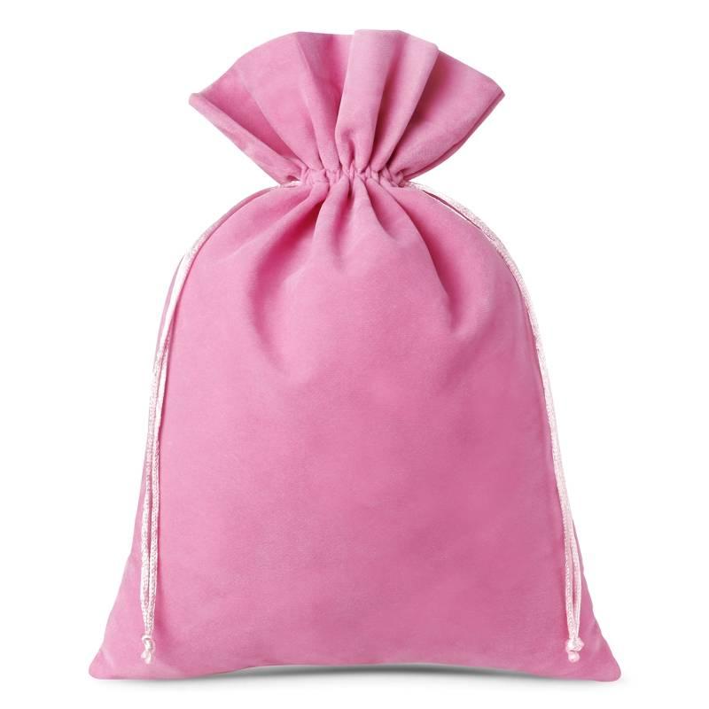 3 pièces Sacs en velours 26 x 35 cm - rose clair