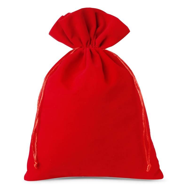 Woreczki welurowe 26 x 35 cm (3 szt.) - czerwone Sacs en velours