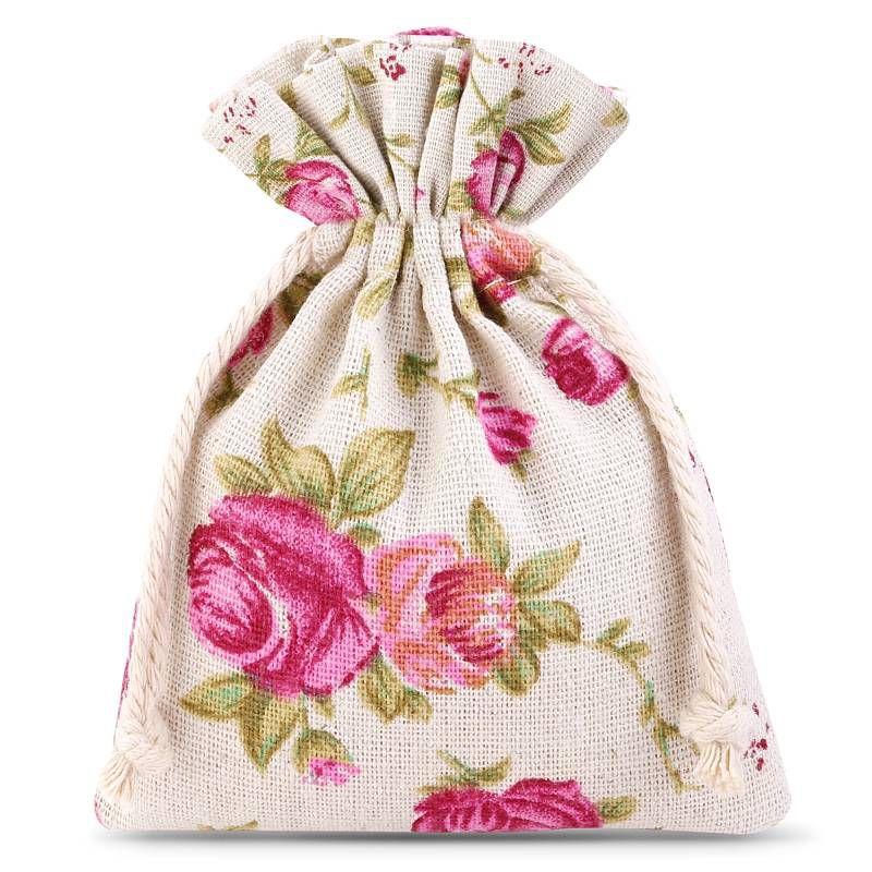 10 pièces Sacs de lin 8 x 10 cm avec l'impression - naturelle / roses