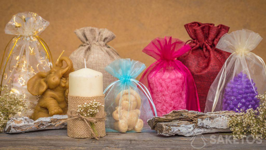 Les sachets cadeau se combinent à la perfection aux bougies faites à la main