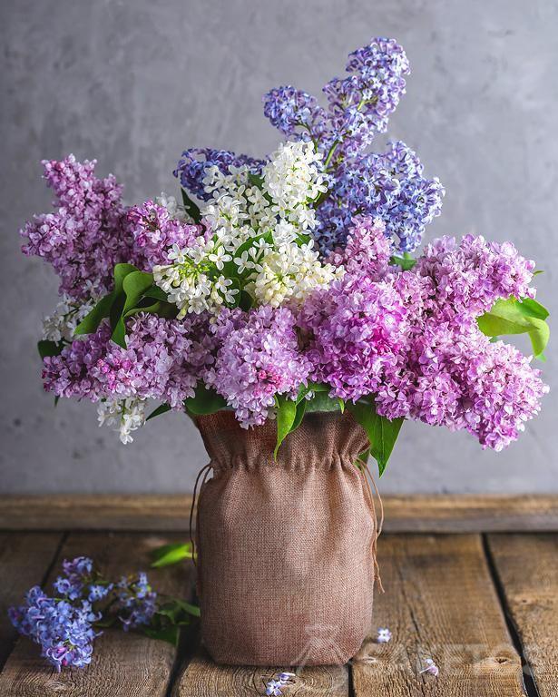 5.Une pochette en toile de jute dans le rôle d'un cache-pot de fleurs avec les fleurs-lilas
