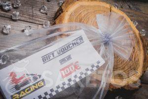 Billets pour karting emballés dans un sac en organza