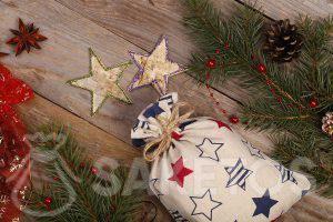 sachets en lin le fabricant propose le sachet élégant avec l'impression des étoiles en couleur